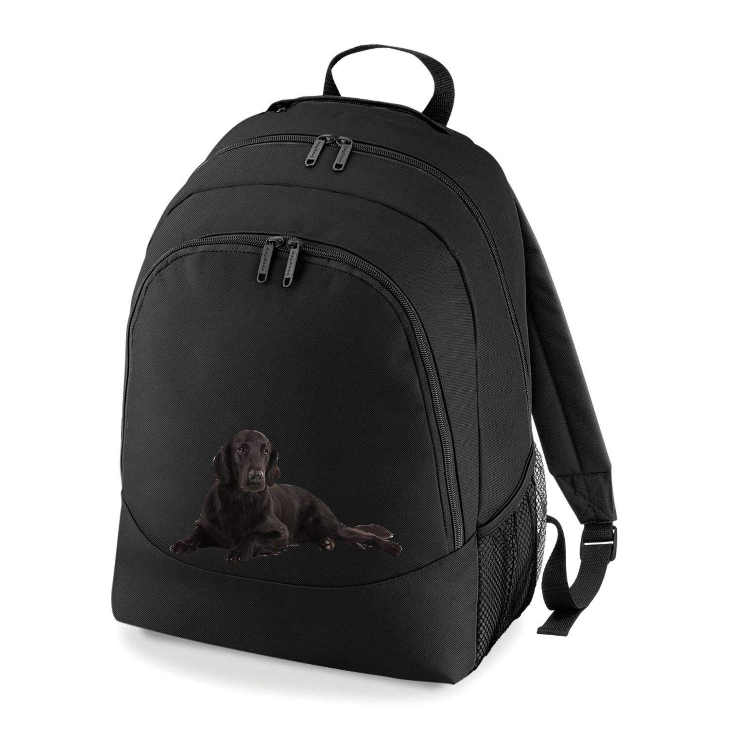 Taurus Clothing Flat-Coated Retriever Dog Personalised Embroidered Rucksack Black