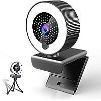 MHDYT 2K Webcam mit Mikrofon und Ringlicht HD Facecam mit Abdeckung und Stativ für PC/MAC/Laptop/Desktop,USB Web Cam…