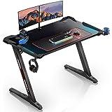 EUREKA ERGONOMIC Gaming Tisch Z1S Gaming Schreibtisch Gaming Computertisch PC Schreibtisch Gamer Mit RGB LED Beleuchtung Getr