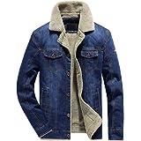 LBL Men's Sherpa Fleece Lined Denim Trucker Jacket Winter Jean Jacket Cowboy Coat