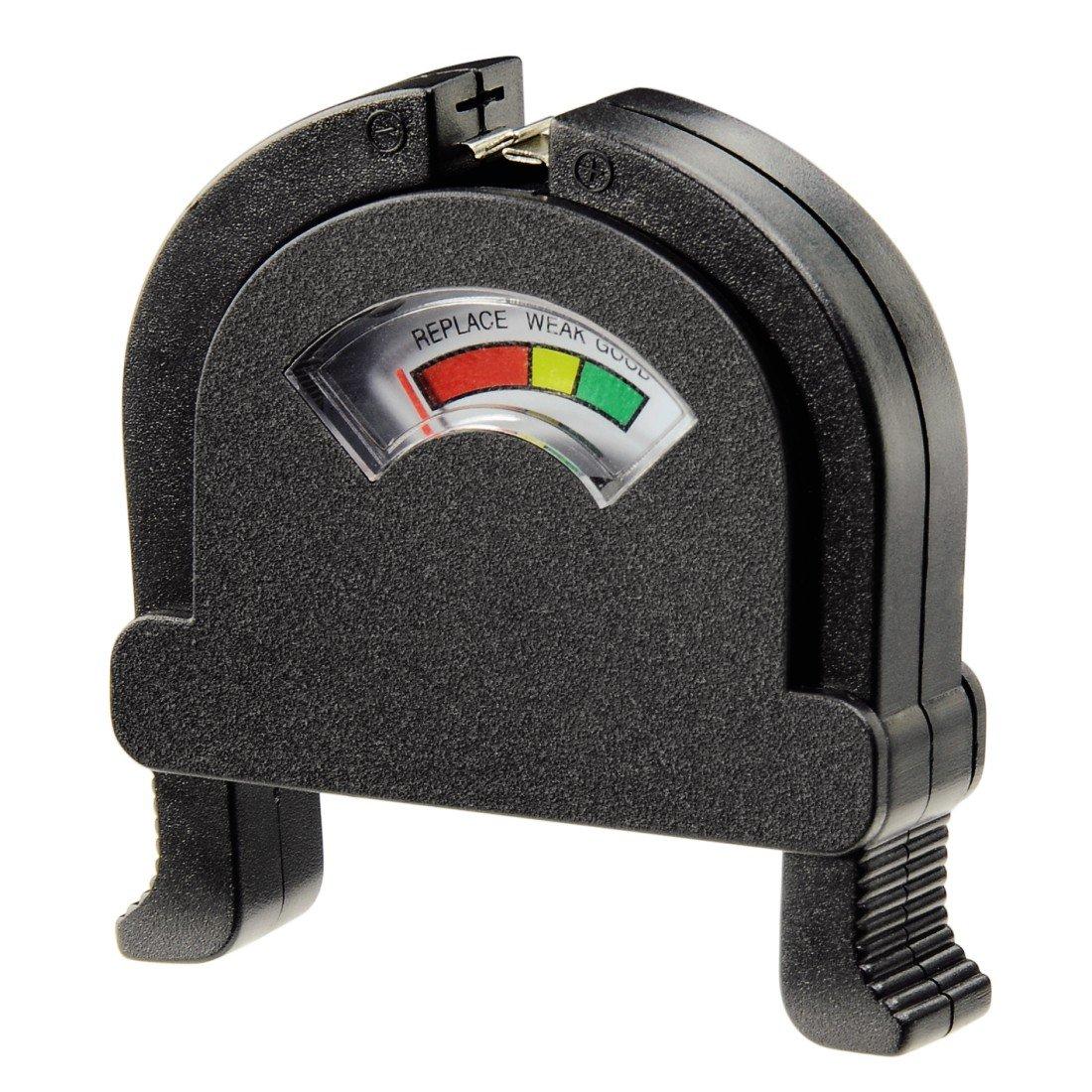 HAMA Tester per batterie alkaline e ricaricabili, AA/AAA/Pile a bottone/C/D/E