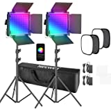 Neewer 2 Paquetes Luz LED 660 PRO RGB Control de Aplicación Kit de Iluminación Video con Soporte Softbox y Bolsa LED 660 SMD