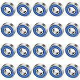 CODIRATO 20 Pezzi Cuscinetto a Sfere 608RS in Metallo Mini Cuscinetti per Pattini Rollerblade Skateboard (8mm x 22mm x 7mm, Blu)