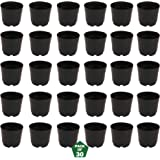 Leafy Tales Plastic Pots, Black 4 inch Size 30 Piece