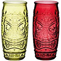 BarCraft BCTIKI2PC Tiki Cocktail Glasses, 600 ML and (Set of 2), Red/Green, 7 x 7,5 x 17 cm