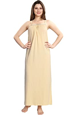 AV2 Women Solid Sleeveless Cotton Nighty