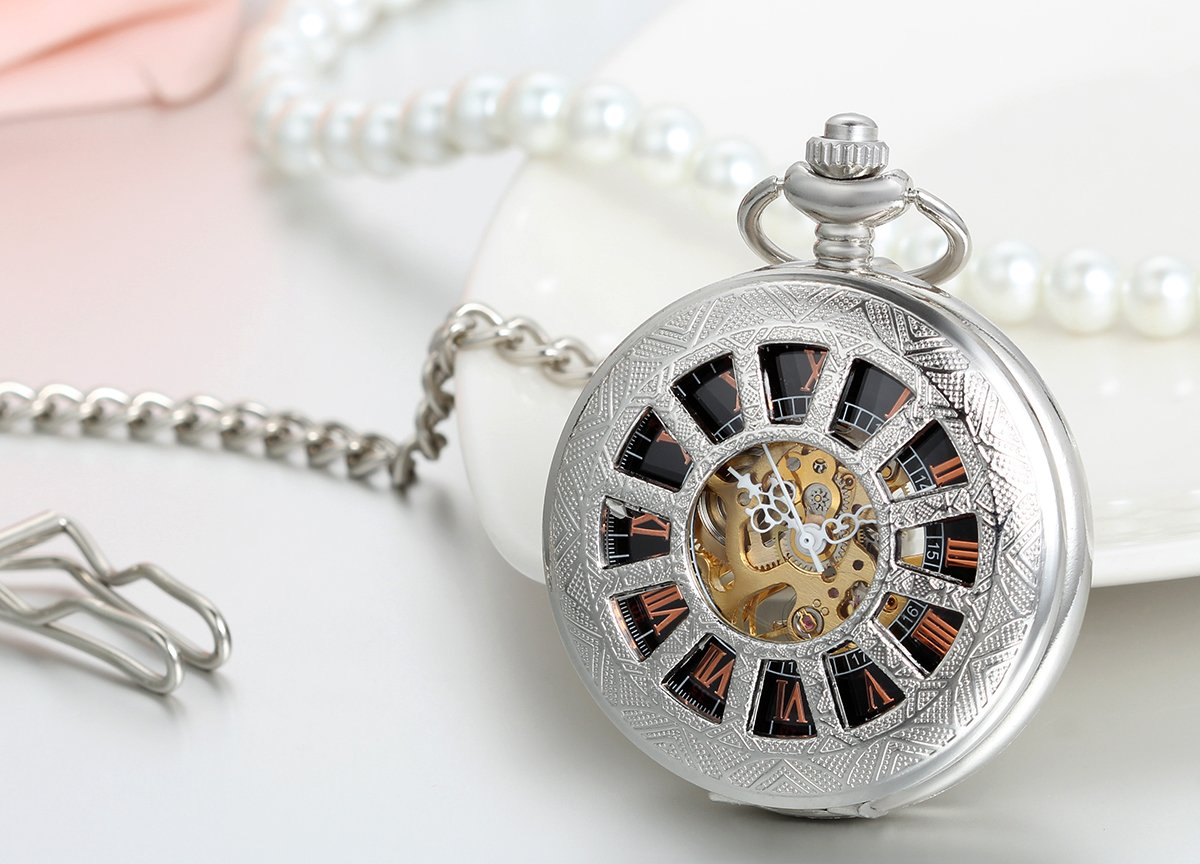 JewelryWe-Steampunk-Handaufzug-mechanische-Taschenuhr-Retro-geometrische-Muster-Herren-Kettenuhr-Uhr-mit-Halskette-Kette-Umhngeuhr-Silber