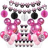 Jollyboom Artículos de Fiesta de cumpleaños con temática de Minnie Decoraciones Globos de Minnie Envolturas de Cupcake Envolt