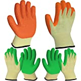 3 Pairs Superior Grip Coating Garden Work Gloves for Women and Men, High Visbility Comfortable for Gardening Contruction Work