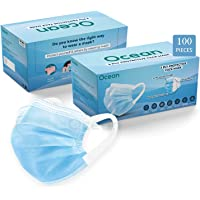 OCEAN 3 ply surgical mask with nose pin 100 piece Pack with soft earloop for Daily Needs 3 layer Surgical Mask…