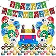 WENTS Super Mario Decoración para Fiestas de Cumpleaños con Globos Banderín Feliz Cumpleaños Tarjetas de Tarta Adornos de Cas