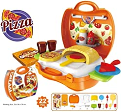 higadget Pizza Oven Suitcase playset Toys for Kids . 22 Pieces