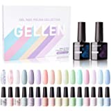 Gellen 16 Colors Gel Nail Polish Set With Top Base Coat - Spring Summer Fresh Macaron Girly Colors Collection, Popular Nail A