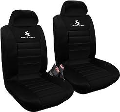 WOLTU AS7254-2 2er Sitzbezüge für Auto Einzelsitzbezug vordere Schonbezüge Sitzbezug Schoner, Komplettset, schwarz