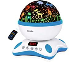 Veilleuse Enfant Musicale et Lumineuse, Moredig LED Veilleuse Etoile Projecteur Rotation + Minuterie + Télécommande + 8 Mode
