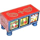 Home and Bazaar Rectangular 3-Drawer Wooden Chest with Ceramic Drawers (Standard Size, Multicolour)