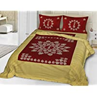 Fecom Cotton Rajasthani Jaipuri Traditional Sanganeri Design Double Bedsheet with Pillow Covers (King Size, Yellow)