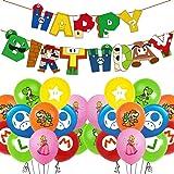 Juego de Globos de Cumpleaños de Mario, Decoración de Cumpleaños de Mario, Pancarta de Feliz Cumpleaños Compacta, Decoración