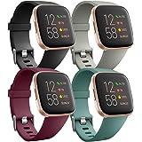 Ouwegaga Pack 4 Siliconen Bandje Compatibel met Fitbit Versa Bandje/Fitbit Versa 2 Bandje, Rervangende Sport Pols Bandje voor