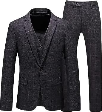 Mens Suits 3 Piece Tweed Suit Slim Fit Wedding Classic Herringbone Check Suits Navy Blue Vintage Suit Jackets Waistcoat Trouser