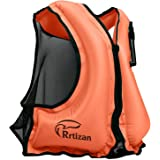 Rrtizan Badväst för vuxna, flytvästar för hjälpmedel - bärbar uppblåsbar snorkel flytande säkerhetsjacka för kvinnor/män, bäs