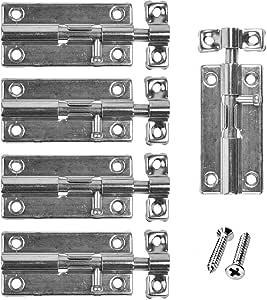 5er Set Türriegel - Riegelschloss 60 * 32mm -Schlossriegel Inklusive Tür Riegel Schrauben Schieberiegel Schiebeschloss Verschlussriegel zur Verriegelung Türen Jeglicher