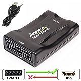 AMANKA Convertitore da SCART a HDMI Adattatore Audio Stereo HD Video Composito per SKY HD Blu Ray DVD TV PS3 con USB Cavo, Ne