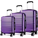 "Kono Lightweight ABS Suitcase 4 Spinner Wheels Trolley Case 3pcs Luggage Set 20"" 24"" 28"" (V Purple Set)"
