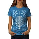 wellcoda Ornement La Vie Arbre Femme T-Shirt Nuit T-Shirt imprimé de Style décontracté