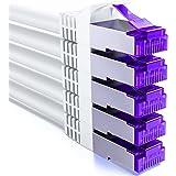 deleyCON 5x 2m RJ45 Patchkabel Set Ethernet-Kabel Netwerkkabel met CAT7 Raw Cable S-FTP PiMF-Afscherming Gigabit LAN-Kabel SF