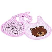 U-grow Washable Waterproof Absorbent Bear Face Cotton Baby Bibs Set of 2 - Baby Pink