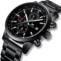 Montre Homme Montre Militaire Etanche Sport Chronographe Quartz Calendrier de Date Montres Bracelets en Cuir Marron Chronometer Mode Casual Analogique