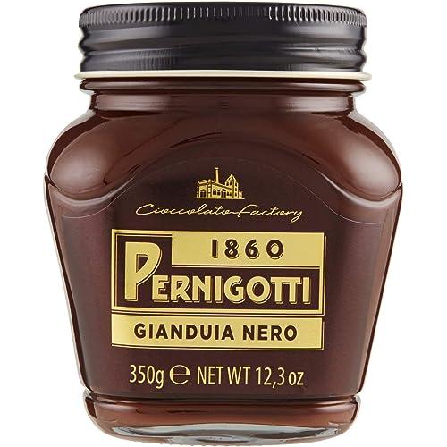 Pernigotti, Crema Gianduia Nero, Crema Spalmabile con il 30% di Nocciole e il 14% di Cacao, Senza Olio di Palma, Senza Glutine, Vasetto da 350 gr