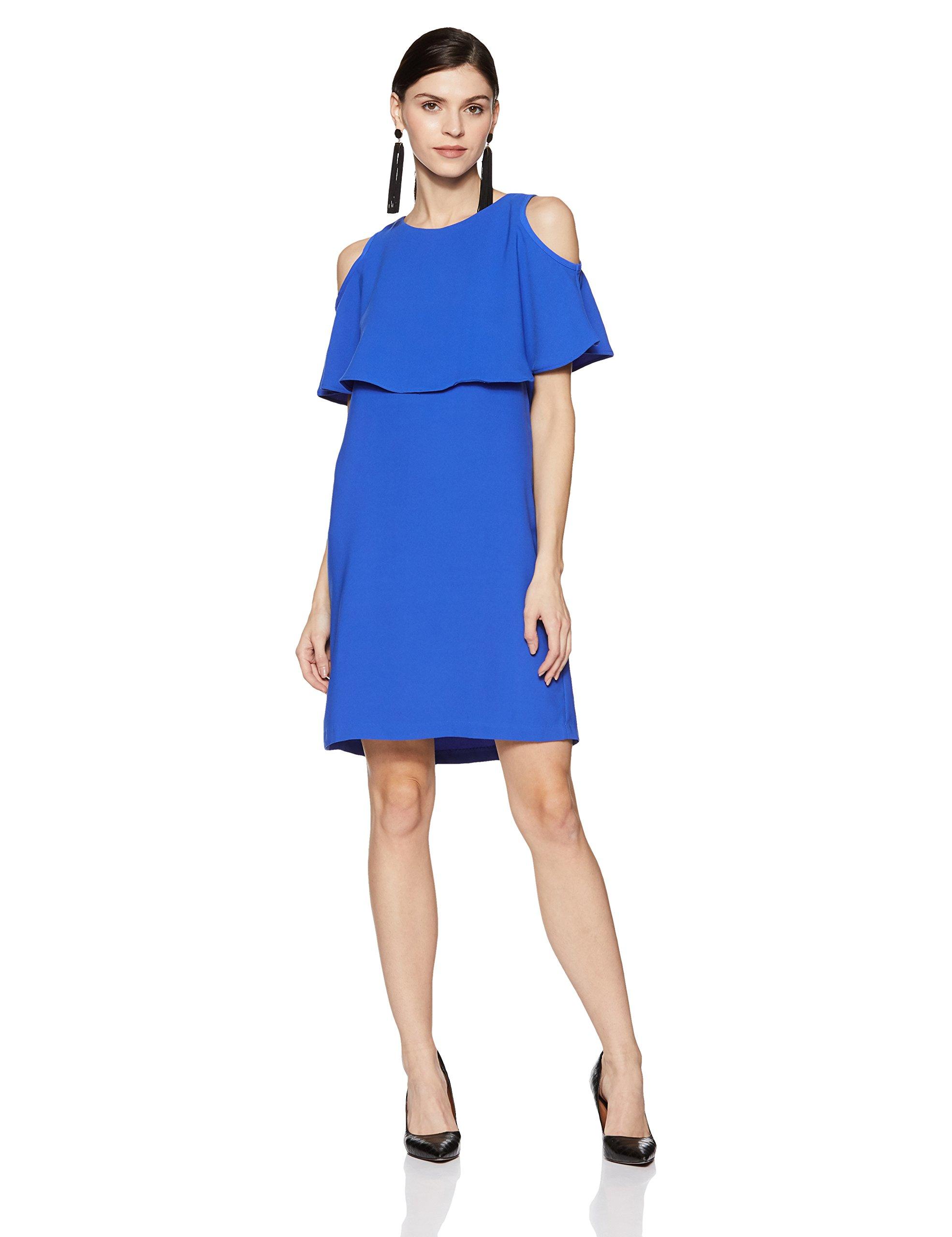 Van Heusen Women's A-Line Midi Dress (VWDR318M007945_Blue_Medium)