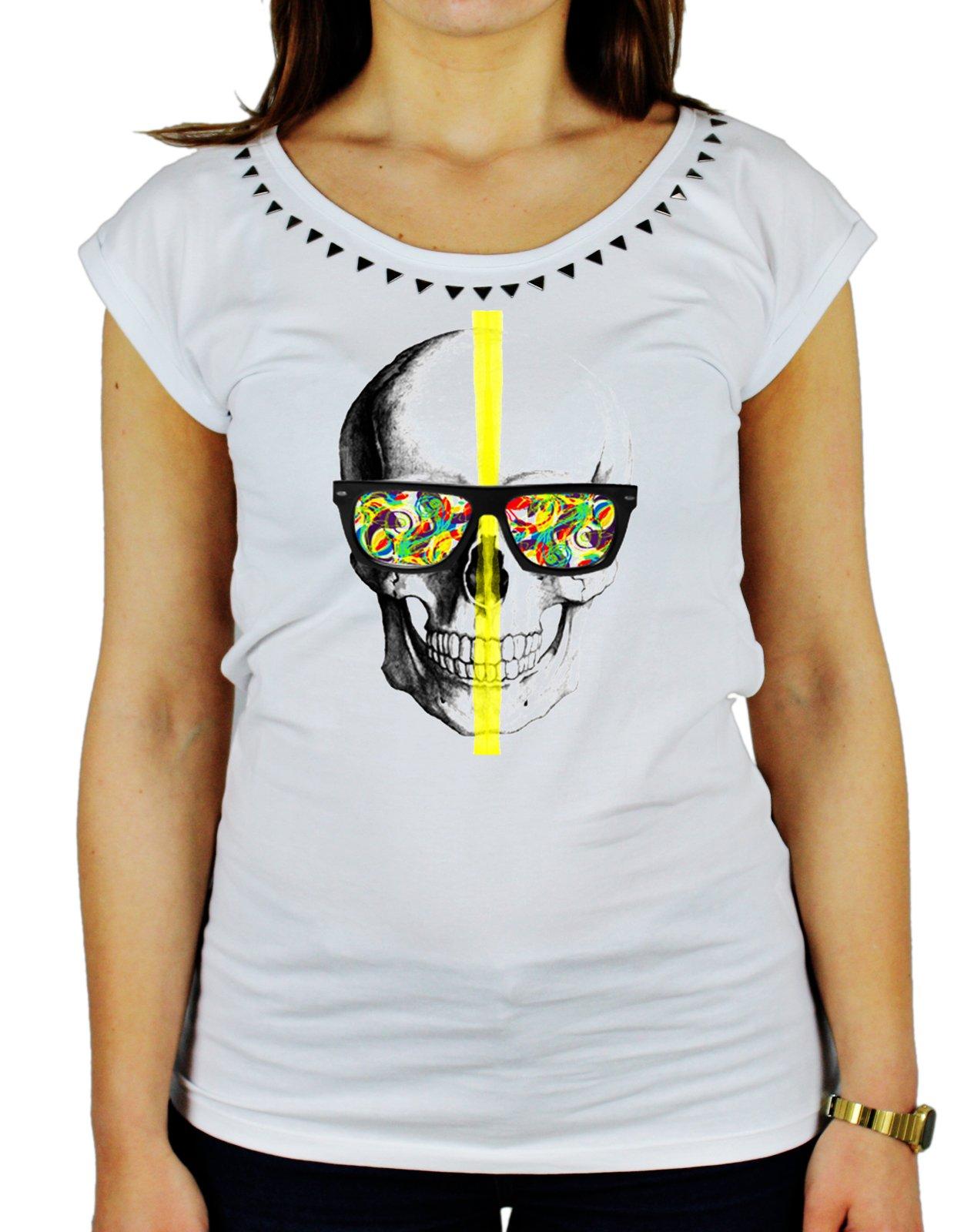 Tshirt da donna con borchie di alta qualità in cotone fiammato skull glasses -colors - teschio - oc