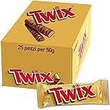 Twix, Barretta Snack con Biscotto Gustoso e Croccante Con Caramello Ricoperto di Cioccolato al Latte, 25 barrette x50g (1250g)