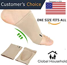 Global Household Foot Care Plantar Fasciitis Arch Support Sleeve Cushion Heel Spurs Neuromas Flat Feet Orthopaedic Pad Foot Arch Orthotic Tool - Free Size - 1 Pair