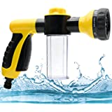 Garden Hose Spray Nozzle, Multi-Function Adjustable Foam Spray Gun with Soap Dispenser, High-Pressure Hand Sprayer for Lawn/G