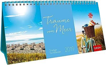 Träume vom Meer 2019: 3-teiliger Tischkalender mit Monatskalendarium