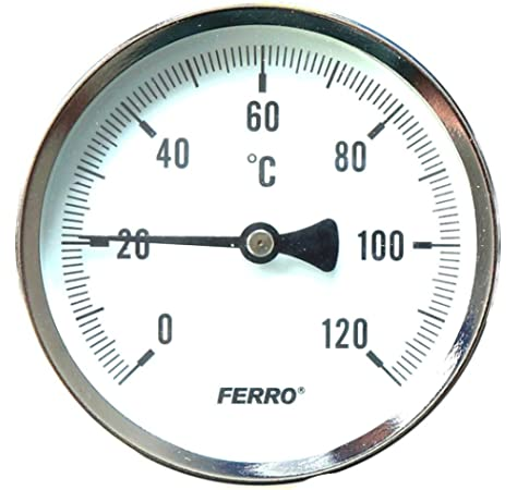 "Ferro Solid Metal Industrial Temperature Gauge Dial Probe Bimetalic 1//2/"" 100mm"