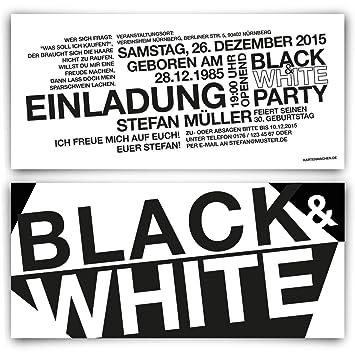 Einladungen (40 Stück) Zum Geburtstag   Schwarz Weiß / Black U0026 White   Party  Einladungskarten: Amazon.de: Bürobedarf U0026 Schreibwaren