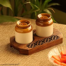 ExclusiveLane Ceramic Shaker Set with Tray, 80 ml, 3-Pieces, Brown and Cream