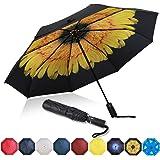 Eono by Amazon - Paraguas Plegable Automático Impermeable, Paraguas de Viaje Compacto a Prueba de Viento, Folding Umbrella, R