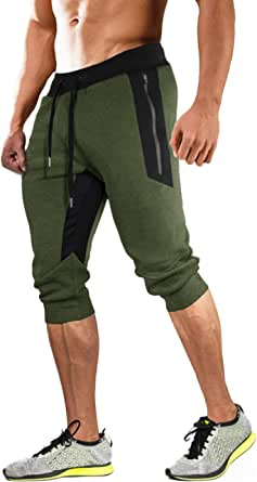 MAGCOMSEN Sports Shorts Mens Casual Cotton 3/4 Joggers Tracksuit Bottoms Elasticated Waist with Drawstring Zip Pockets Sweatpants
