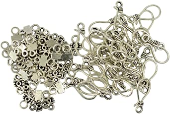 Aspiredeal 50 Sets Tibetan Style Antique Silver S Hook and Eye Clasps Jewelry Findings