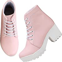 ZAPATOZ Presents Women's/Ladies/Female/Girls Lightweight Comfortable, Casualwear Black High Ankle Length Lace-Up Boots, Shoes_(9607_Black)