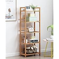 House of Quirk 5 Tier Bamboo Shelf Storage Rack, Storage Shelves Adjustable Bookshelf Kitchen Free Standing Storage…