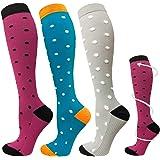 ACTINPUT 3/7 Pares Calcetines de compresión para Mujeres y Hombres 20-25 mmHg es el Mejor atlético, Correr,Escalar Montaña,Vu