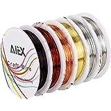 AIEX Sieraaddraad koperdraad zilverdraad gouddraad voor het kunsthandwerk en het maken van sieraden (6 rollen 26 spoor)