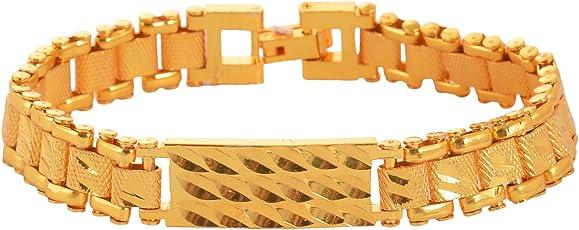 Handicraft Kottage Gold Plated Charm Bracelet for Men (Golden) (AGBR 020)